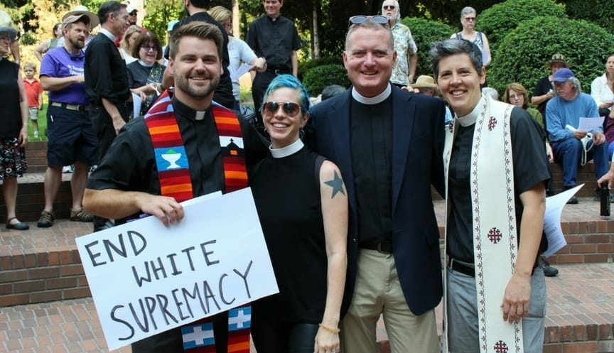 diocesan clergy at a people of faith anti-racism march