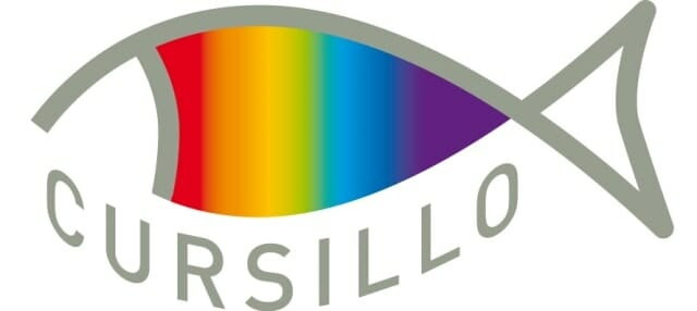 "a drawing in silver of the outline of a fish filled in with a rainbow with the word ""cursillo"" beneath it"