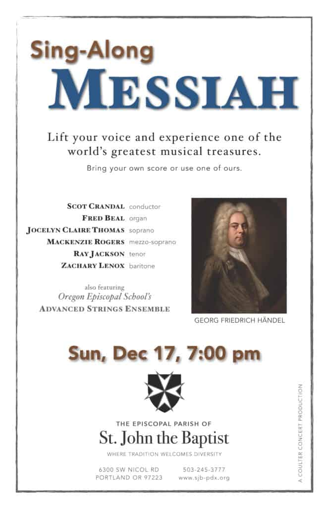 A poster with a photo of Handel in a long curly wig and details on the sing-along