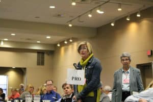 "A woman with short blond hair wearing a green turtleneck and denim jacket speaks into a microphone labeled with a ""pro"" sign"