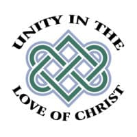 "a blue, green, and white celtic heart knot surrounded by the words ""unity in the love of christ"" in black lettering"