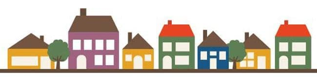 a clipart drawing of affordable housing in a neighborhood