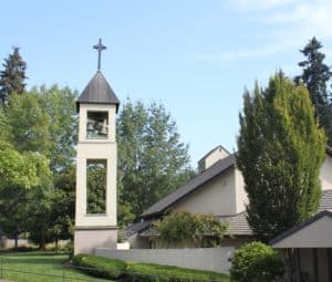 an image of the bell tower and exterior roofline of St. Francis of Assisi Episcopal Church in Wilsonville